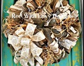 Shabby Chic Christmas Wreath, Country Wreath, Christmas Wreath