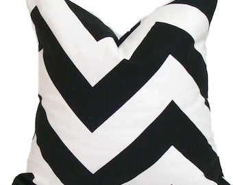 BLACK CHEVRON PILLOWS, Black Pillow Covers, All Sizes, Black Decorative Pillow, 18x18, 16x16, 22x22, 24x24 26x26 and more, Black Cushion