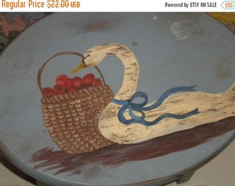 SUMMER SALE 1990's Hand Painted Small Country Stool, Primitive, Country, Farmhouse, Cottage,Eclectic