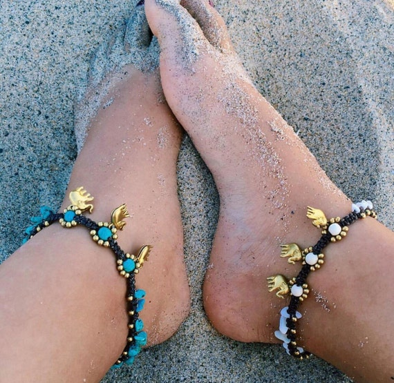 Elephant anklet, funky jewelry, Bead  Anklet, Turquoise Ankle Bracelet, Leg Jewelry, Boho Bracelet, Handmade Jewelry- By PiYOYO