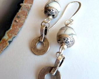Earrings, Tibetan White and Silver Earrings, White Crackle Resin, Tibetan Silver Dangle Earrings, Boho Style Silver Earrings