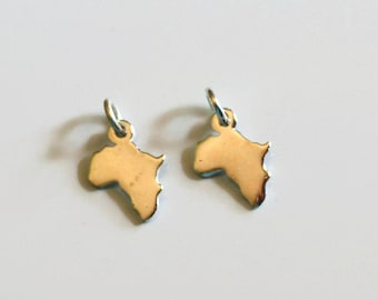 Africa charm, sterling silver charm, sterling silver africa, tiny Africa charm, charm with jumpring, Africa charm with jumpring, 1pc