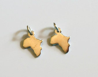 Africa charm, sterling silver charm, sterling silver africa, tiny Africa charm, charm with jumpring, Africa charm with jumpring, 1pc, Africa