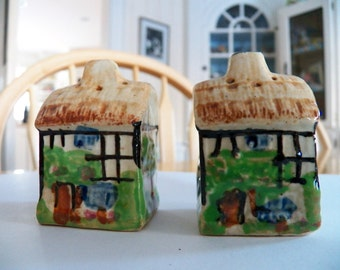Vintage 1940's English Cottage Salt and Pepper Shakers