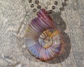 Light Purple Spiral Ammonite Borosilicate Pendant