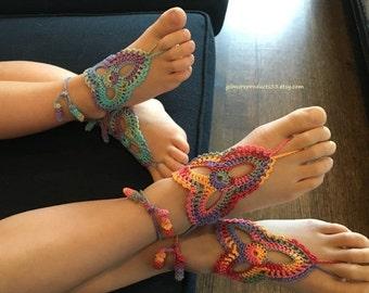Childrens Wrap Up Lace Sandals Shoes. Childrens Tie Up Boho Sandals. Crochet Wedding Shoes Sandals