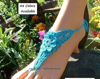 Sea Color Barefoot Sandals Beach Shoes Anklet Shoes Sky Blue Sandal Beach Wedding Foot Jewelry Crocheted Bluish Barefoot Sandles