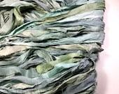 10 yd Sari Silk Ribbon Pale Aqua Blues Sage Greens Grays Free Combined Shipping Tassel Supply Sari Bracelet Fair Trade Felt Fiber Art Supply