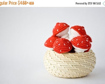 SALE Toadstool Crochet Toy (1 pc) - Baby Rattle, Toy for Toddler, Gift for Baby, Sensory Toy, Eco-Friendl - FrejaToys