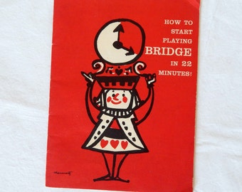 Bridge Booklet Vintage 1957 How to Start Playing Bridge in 22 Minutes Book Red Black Illustrated