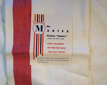 Vintage Dish Towel PAIR Martex Red and White Made in USA Cotton Rayon Never Used With Label Tea Towel Textile