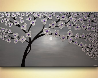 "modern blooming tree painting original SILVER Purple Lavender Acrylic Painting Heavy Palette Knife Textured by Osnat  53""x30"""
