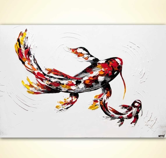 Modern koi fish print on canvas heavy texture by osnatfineart for Koi prints canvas