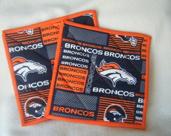 Large Bronco's Football Fabric Quilted Potholders - Set of 2 - HANDMADE BY ME