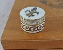 Small Enamel Cloisonne Pill Box | Vintage Fleur de Lis Pill Box