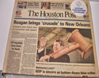 The Houston Post Aug. 15, 1988 Ronald Regan Goes to New Oleans Newspaper
