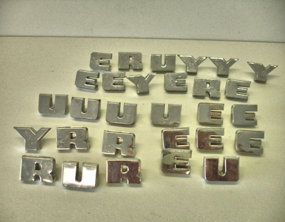 vintage lot 28 chrome metal letters crafts altered artmix