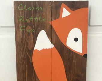 Clever little fox sign, fox nursery sign, fox decor, fox pallet, woodland animal, woodland nursery, nursery decor, baby shower gift