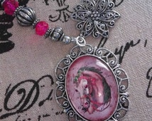 Hand Painted Glitter Cabochon Pink Pony Silver Necklace Equestrian Fancy Pendant