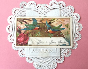 Charming Victorian Calling Card-Sisters Lucy and Lena-Little Birds