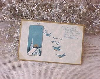 Sweet Edwardian Era Christmas Postcard with Swallow in Flight