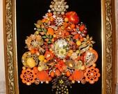 RESERVED for Rodney -------Vintage Jewelry Framed Christmas Tree ~ Christmas SUNSHINE~ Orange & Yellow Jewelry Tree ~ Christmas Keepsake