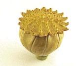 Poppy Seed Husk - Ceramic Seed Pod - Organic Rattle - Zen Meditation Shaker - Nature Art - Flower Rattle Sculpture - Rustic Noisemaker