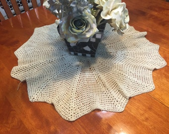 Vintage 26 inch Ivory Hand Crochet doily for housewares, home decor, pillows, christmas, holiday, bags by MarlenesAttic