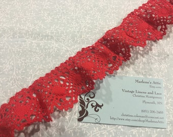 1 yard of 1 3/4 inch Red Ruffled Cluny lace trim for bridal, baby, wedding,valentines, sweetheart, costume by MarlenesAttic - Item 2FF