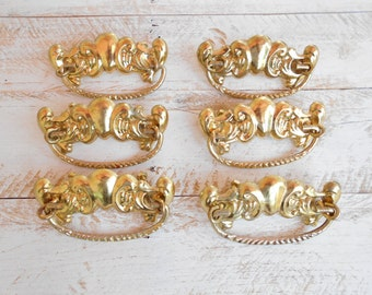 Vintage Brass Plated Drawer Pulls, Set of Six, Complete, Reproduction