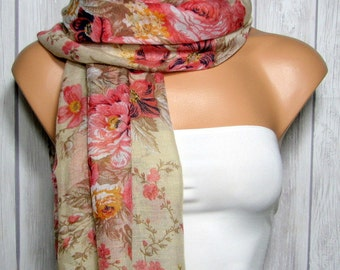 Rose Rectangle Scarf for Women, Pink, Brown, Women's Floral Viscose Fabric Scarves, Spring Summer Fashion