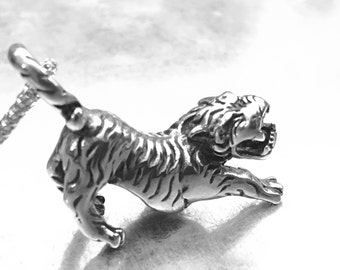 Tiger Necklace, Big Cat Necklace, Stainless Steel, Tiger Charm, Animal Charm