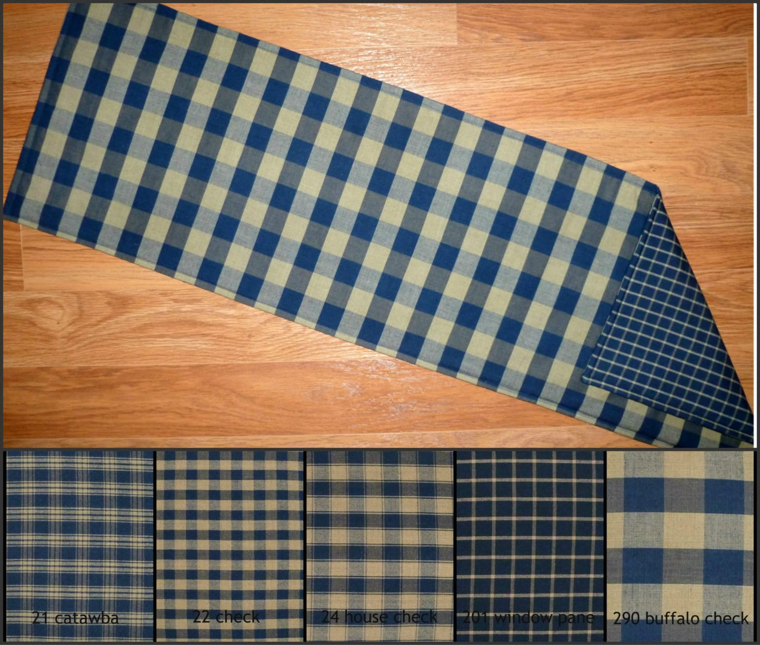 Navy blue and tan reversible table runner placemats plaid for Table runners 52 inches