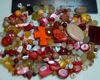 DESTASH - Semi-Precious Stone Lot - variety - yellows, oranges, reds - beads SP722