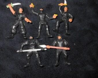 1986 GUTS aikido force figure lot - 80s toys - army men - ninjas karate kung fu