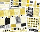 Gold Foil Printable Planner Stickers Kit for Erin Condrin Planner EC Happy Planner Black & Gold Elegance