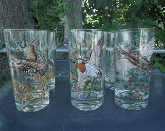 "Culver Glasses Game Bird Set of 6 Wild Bird Retro Barware Drinking Glasses 5 1/2"" Tall"