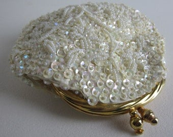 Vintage Ivory Beaded Sequin Coin Clutch Purse. Hand Made in Hong Kong. Gold Tone Hardware. Wedding, Prom, Evening Accessory. Mid Century.