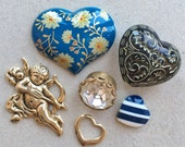 craft lot destash of love themed salvaged items//cupid heart bead cabochons rhinestone diamond--mixed lot of 6 items