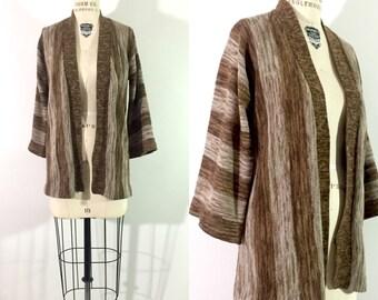 70s space dyed sweater / 1970s kettle dye cardigan / stripe southwest boho sweater  / knit bell sleeved wrap sweater / s•m
