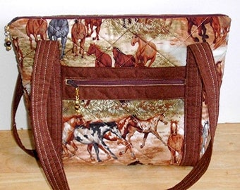 Quilted Purse, Horse Print Purse, Medium Size Purse, by Florence