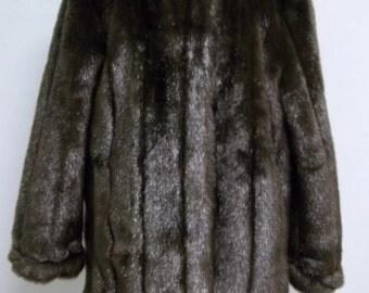 Dennis Basso Dark Brown Beautiful Faux Fur Sz Large