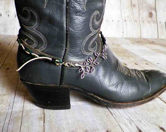 Leather Braided Boot Bracelet for Dress or Western Boots. Boot Jewelry - Free US Shipping on Jewelry