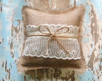 "8"" x 8"" Burlap Ring Bearer Pillow w/ Lace & Jute Twine- Rustic/Country/Shabby Chic/Folk/Wedding-Barn Wedding-Beach Wedding-Mountain Wedding"