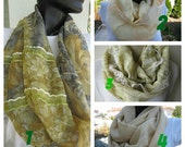 SALE/Pale green beige- chiffon infinity scarf - chiffon loop scarf - women's scarves -office fashion scarves2012-gift for her