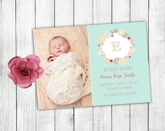 Birth announcement, birth announcement card, baby announcement, baby girl announcement, baby girl birth announcement, monogram baby girl