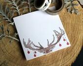 Set of 6 - Printed Christmas Cards - Deer Xmas Card - Holiday Card - Animal Greeting Card