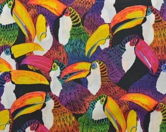 Alexander Henry Fabric, Bird Fabric, Toucan Fabric, Tropical Bird Fabric, Bright Colors, Fabric by the Yard - 1 1/8 Yard - CFL1779