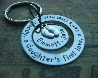 Father's day keyring, Daddy Dad birthday, personalise, hand stamped metal keychain, Daughter's first love, son's first hero