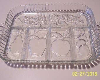 Clear Glass Rectangle Divided Dish